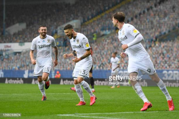 Mateusz Klich of Leeds United celebrates after scoring his team's first goal during the Sky Bet Championship match between Leeds United and Stoke...