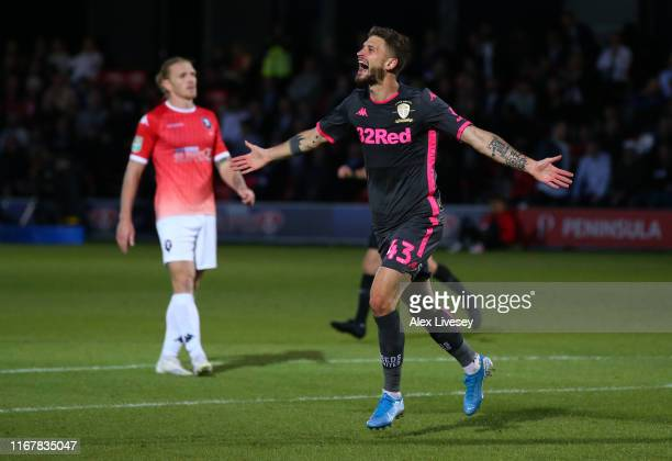 Mateusz Klich of Leeds United celebrates after scoring their third goal during the Carabao Cup First Round match between Salford City and Leeds...