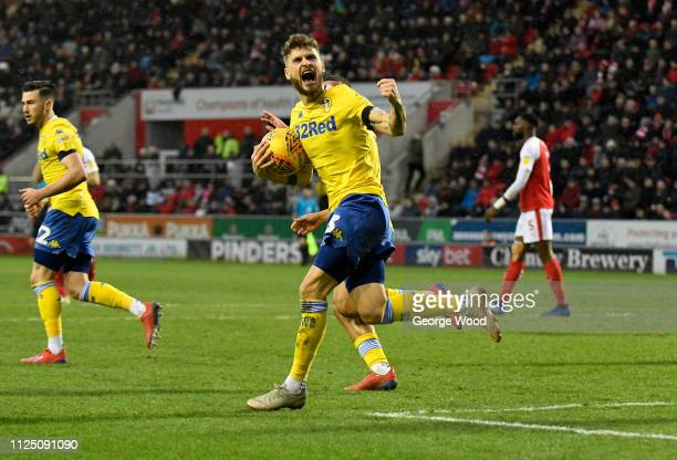 Mateusz Klich of Leeds United celebrates scoring his sides opening goal to make score 11 during the Sky Bet Championship match between Rotherham...