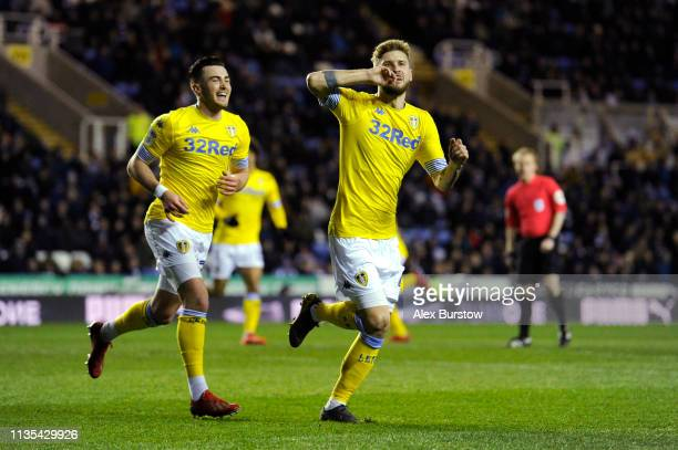 Mateusz Klich of Leeds United celebrates scoring his team's first goal during the Sky Bet Championship match between Reading and Leeds United at...