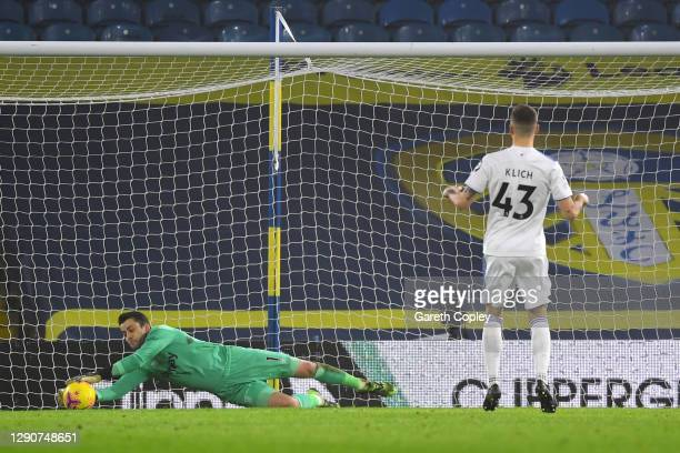 Mateusz Klich of Leeds United has a penalty saved by Lukasz Fabianski of West Ham United during the Premier League match between Leeds United and...