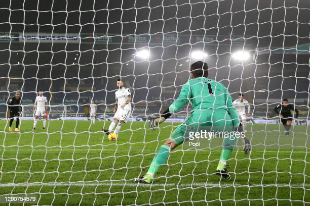 Mateusz Klich of Leeds United has a penalty saved by Lukasz Fabianski of West Ham United that is later reviewed by VAR and retaken during the Premier...