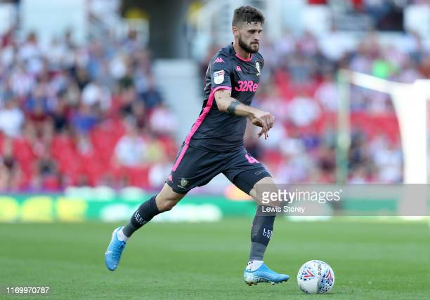 Mateusz Klich of Leeds United runs with the ball during the Sky Bet Championship match between Stoke City and Leeds United at Bet365 Stadium on...