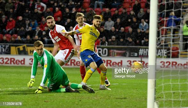 Mateusz Klich of Leeds United scores his sides opening goal to make score 11 during the Sky Bet Championship match between Rotherham United and Leeds...