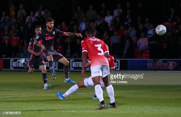 Mateusz Klich of Leeds United scores their third goal during the Carabao Cup First Round match between Salford City and Leeds United at Moor Lane on...