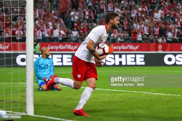 Mateusz Klich of Poland celebrates scoring a goal to make it 11 during the international friendly match between Poland and Republic of Ireland at the...