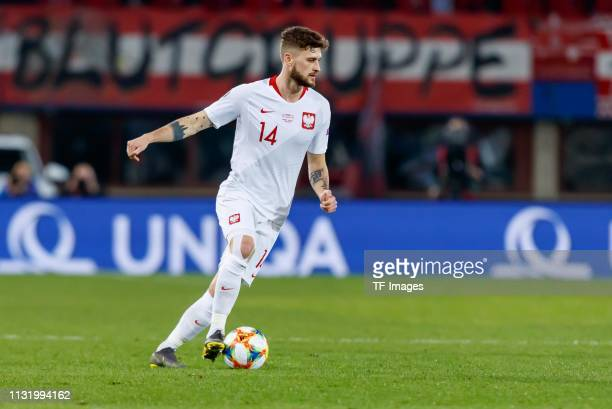 Mateusz Klich of Poland controls the ball during the 2020 UEFA European Championships group G qualifying match between Austria and Poland at Ernst...