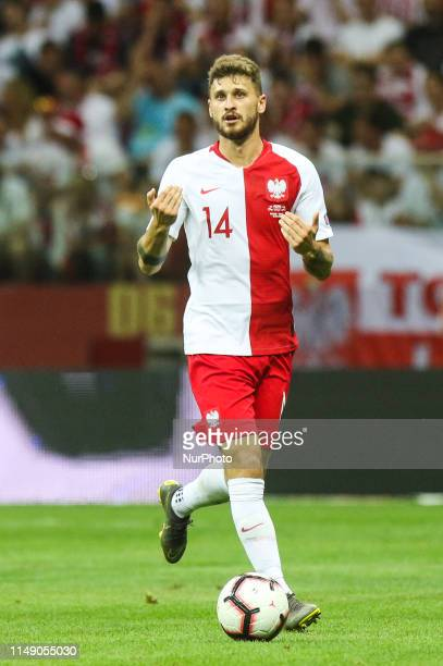 Mateusz Klich of Poland during the UEFA Euro 2020 qualifier Group G football match Poland against Israel on June 10 2019 in Warsaw Poland