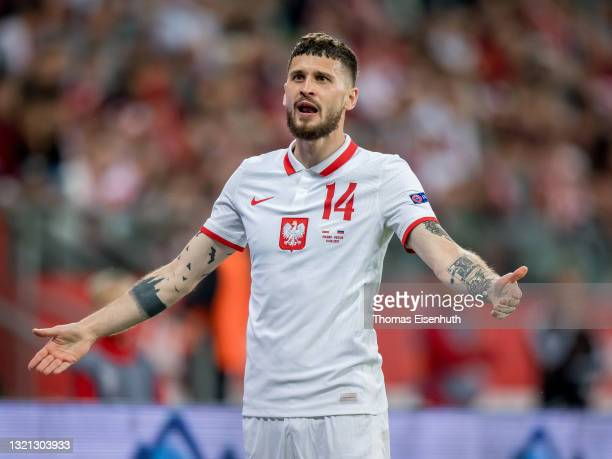 Mateusz Klich of Poland gestures during the international friendly match between Poland and Russia at the Municipal Stadium on June 01, 2021 in...