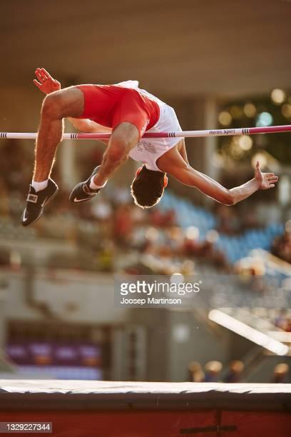 Mateusz Kolodziejski of Poland competes in the Men's High Jump Final during European Athletics U20 Championships Day 3 at Kadriorg Stadium on July...