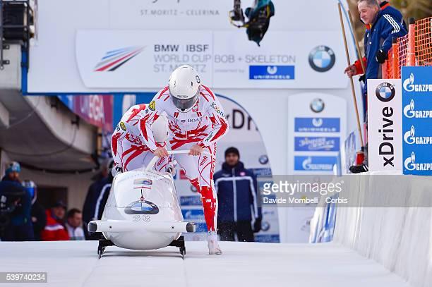 Mateusz Kossakowski Grzegorz in action during the start BMW IBSF World Cup Bob 2 man 2015/2016 St Moritz Swiss