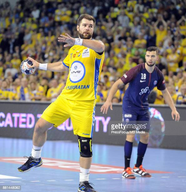 Mateusz Kus during the EHF Men's Champions League Game between PGE Vive Kielce and PSG Handball on November 26 2017 in Kielce Poland