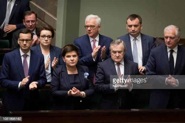 Mateusz Morawiecki Beata Szydlo Piotr Glinski Jaroslaw Gowin Zbigniew Ziobro Jacek Czaputowicz Anna Zalewska in Warsaw Poland on 6 June 2018