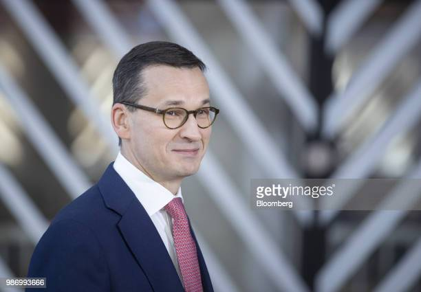 Mateusz Morawiecki Poland's prime minister arrives for a European Union leaders summit in Brussels Belgium on Friday June 29 2018 EU leaders...