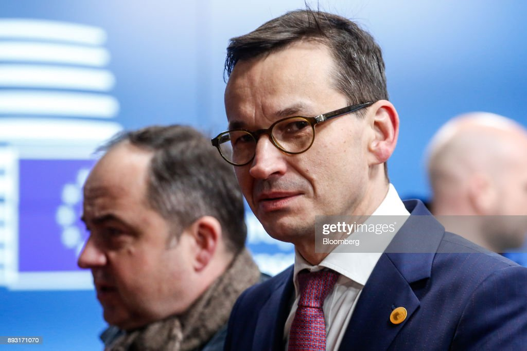 Mateusz Morawiecki, Poland's prime minister, leaves after attending a European Union (EU) leaders summit at the Europa Building in Brussels, Belgium, early on Friday, Dec. 15, 2017. U.K. Prime Minister Theresa May asked European leaders to be creative and to persevere to reach a deal when Brexit negotiations move on to trade. Photographer: Dario Pignatelli/Bloomberg via Getty Images