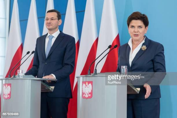 Mateusz Morawiecki Polish Minister of Economic Development and Finance and Prime Minister of Poland Beata Szydlo in Warsaw Poland on 29 September 2016