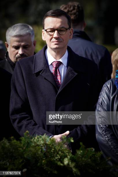PM Mateusz Morawiekci is seen attending a commemoration ceremony at the Powazki military cemetery in Warsaw Poland on April 10 2019 Exactly nine...