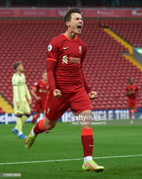 Mateusz Musialowski of Liverpool celebrates scoring Liverpool's first goal during the PL2 game at Anfield on October 16, 2021 in Liverpool, England.