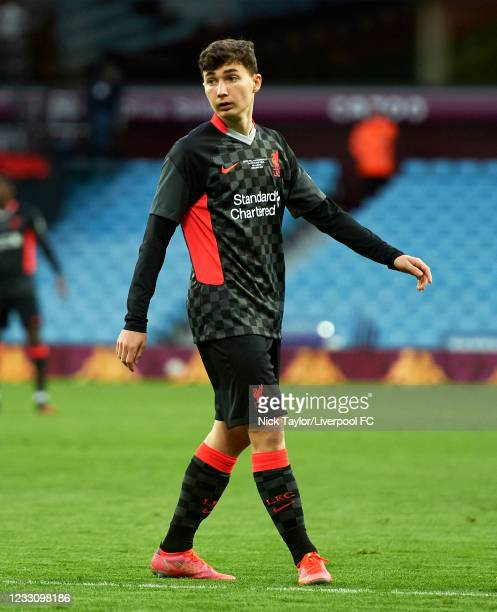 Mateusz Musialowski of Liverpool in action during the FA Youth Cup Final between Aston Villa U18 and Liverpool U18, at Villa Park on May 24, 2021 in...
