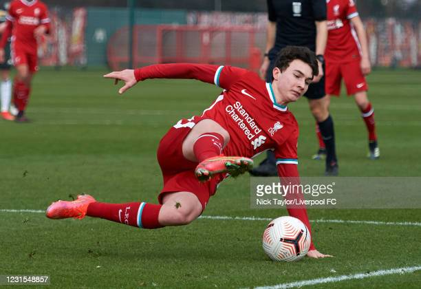 Mateusz Musialowski of Liverpool in action during the U18 Premier League game between Liverpool and Manchester United at AXA Training Centre on March...