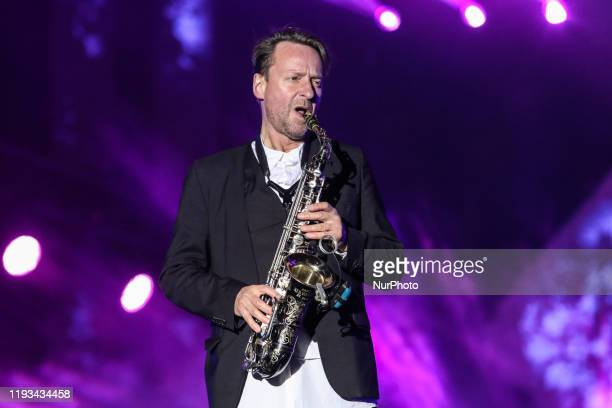 Mateusz Pospieszalski saxophone flute bass clarinet keyboard instruments accordion vocals of the Voo Voo band is seen in Gdansk Poland on 12 January...