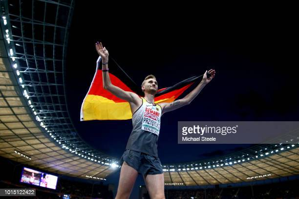 Mateusz Przybylko of Germany celebrates winning gold in the Men's High Jump Final during day five of the 24th European Athletics Championships at...