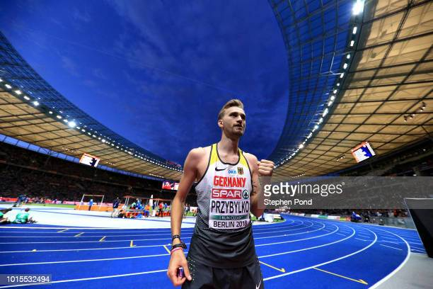 Mateusz Przybylko of Germany celebrates winning gold in the men's high jump during day five of the 24th European Athletics Championships at...