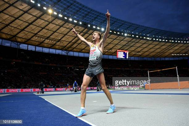 Mateusz Przybylko of Germany reacts during the Men's High Jump Final during day five of the 24th European Athletics Championships at Olympiastadion...