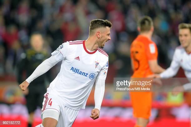 Mateusz Wieteska of Gornik Zabrze celebrates scoring the goal during Lotto Ekstraklasa match between Gornik Zabrze and Zaglebie Lubin on March 9,...