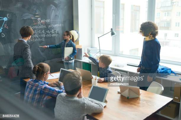 math integration class - teen russia stock photos and pictures