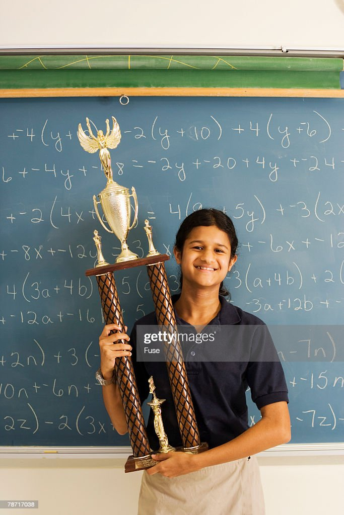 Math Student With Large Trophy Stock Photo   Getty Images