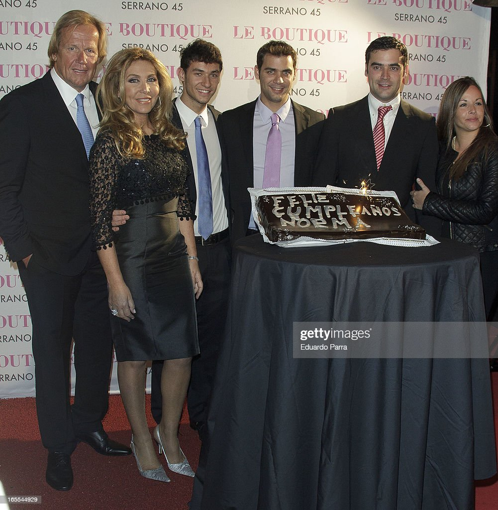 Mathías Khun, Norma Duval, Christian Ostarcevic, Yeiko Ostarcevic and Marc Ivan Ostarcevic attends the photocall for the birthday party of Norma Duval at Le Boutique disco on April 4, 2013 in Madrid, Spain.