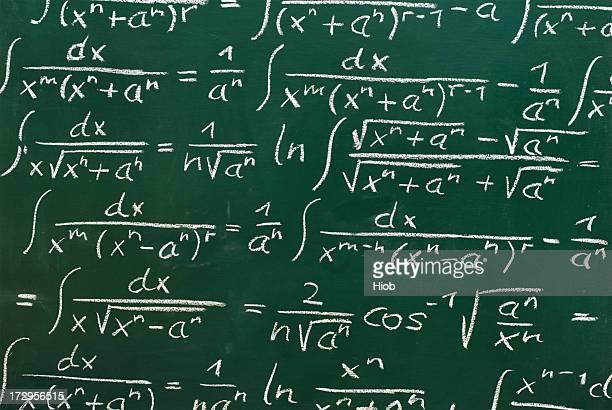 mathematical formulas on a blackboard