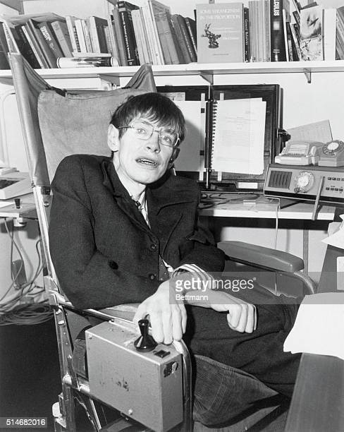 Mathematical physicist Dr. Stephen Hawking in his office. Hawking has been recognized for his significant contributions to physics using the theory...