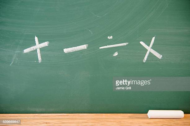 Mathematical symbols on chalkboard