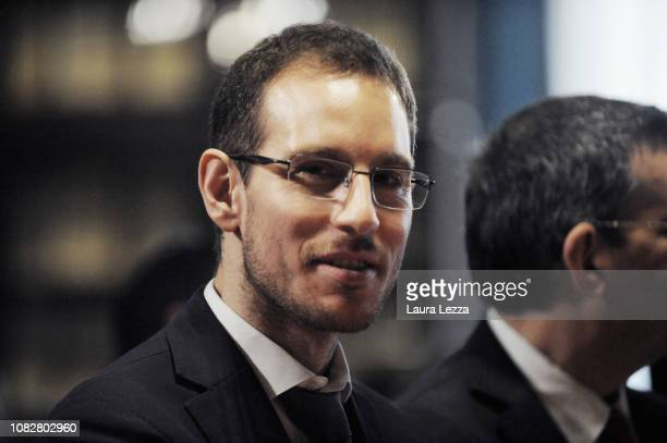 Mathematician Alessio Figalli attends the Conference 'Alessio Figalli Fields medallist 2018' organized at the Scuola Normale Superiore on January 14...