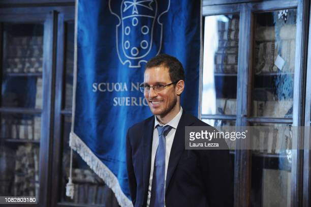 Mathematician Alessio Figalli attends the Conference 'Alessio Figalli Fields medallist 2018' at the Scuola Normale Superiore on January 14 2019 in...