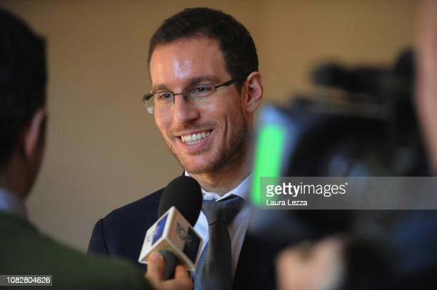 Mathematician Alessio Figalli attends the Conference 'Alessio Figalli Fields medallist 2018' and talks to the media at the Scuola Normale Superiore...