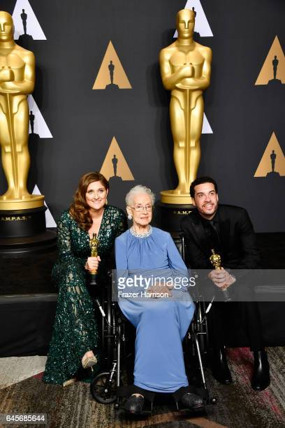 NASA mathematician Katherine Johnson and director Ezra Edelman and producer Caroline Waterlow winners of Best Documentary Feature for 'OJ Made in...