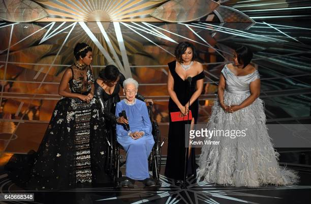 NASA mathematician Katherine Johnson appears onstage with actors Janelle Monae Taraji P Henson and Octavia Spencer speak onstage during the 89th...