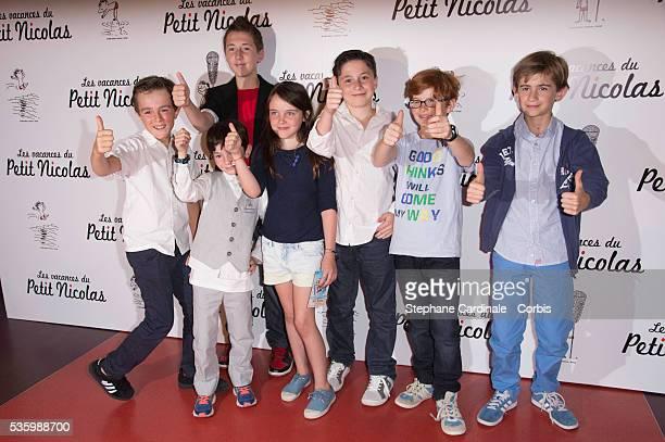 Matheo Boisselier and his 'friends' attend the 'les vacances du petit Nicolas' Premiere at Cinema Gaumont Capucine in Paris