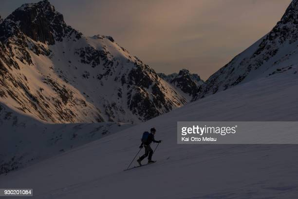 Matheo Jacquemoud from France at The Arctic Triple Lofoten Skimo on March 10 2018 in Svolvaer Norway Lofoten Skimo is one of three races organized...