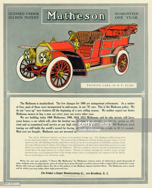 """A Matheson touring car is shown in a magazine advertisement dated 1907 The ad states """"A 1906 Matheson stock touring car still holds the world's..."""
