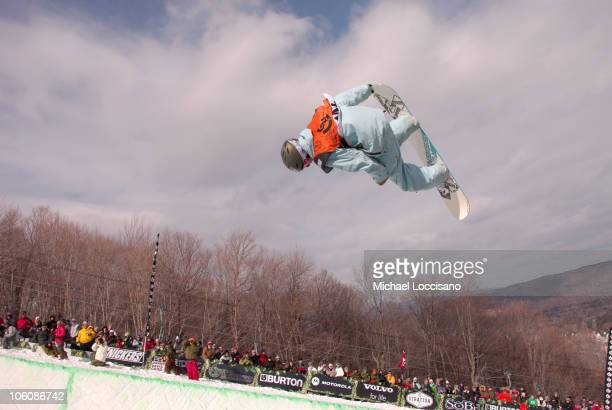 Matheu Crepel Halfpipe Finals March 18th during 24th Annual Burton US Open Snowboarding Championships at Stratton Mountain in Stratton Vermont United...
