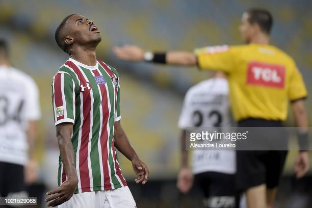 Matheus Alessandro of Fluminense reacts during the match between Fluminense and Corinthians as part of Brasileirao Series A 2018 at Maracana Stadium...