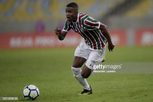 Matheus Alessandro of Fluminense runs with the ball during the match between Fluminense and Corinthians as part of Brasileirao Series A 2018 at...
