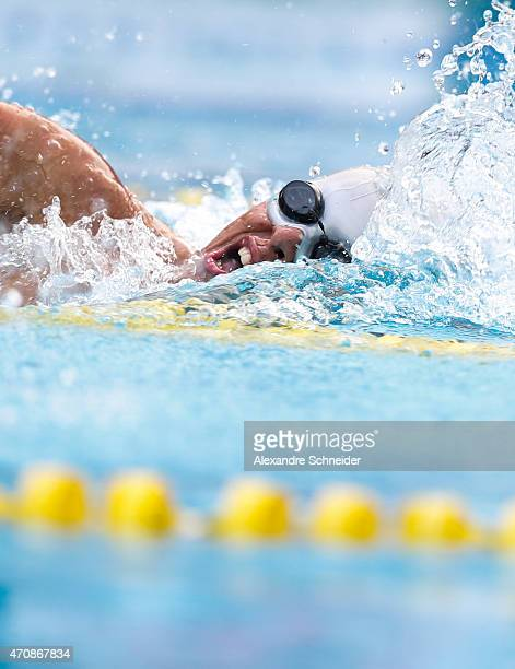Matheus Correia de Souza of Brazil competes in the Men's 100 meters freestyle qualifying at Ibirapuera Sports Complex during day one of the Caixa...