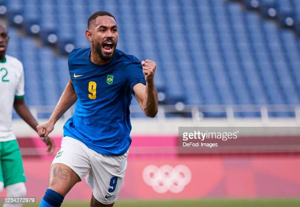 Matheus Cunha of Brazil celebrates after scoring his team's first goal during the Men's Group D match between Saudi Arabia and Brazil on day five of...
