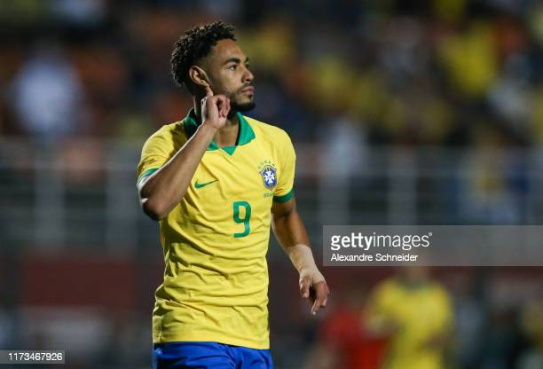 Matheus Cunha of Brazil celebrates after scoring the second goal of his team during the Olympic Soccer Friendly match against Chile at Pacaembu...
