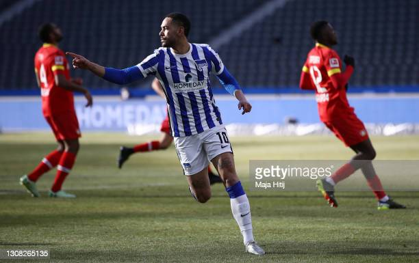 Matheus Cunha of Hertha Berlin celebrates after scoring their side's second goal during the Bundesliga match between Hertha BSC and Bayer 04...